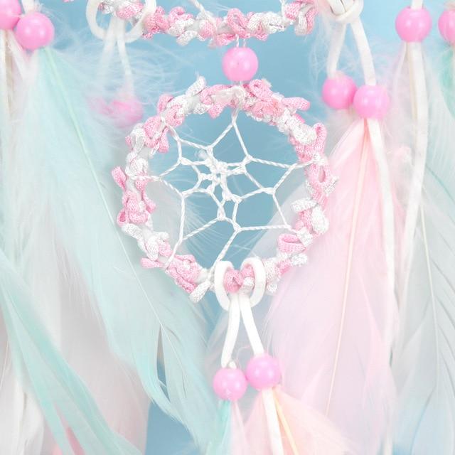 Pendentif rose attrapeur de rêves | Pendentif de décoration pour fenêtre et cadeau danniversaire pour fille