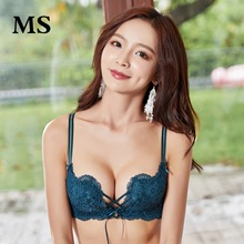 MS Sexy deep V lace no steel ring hollow underwear women gather on the comfort adjustment type beauty back ladies bra lingerie
