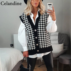 Celandine Black Houndstooth V Neck Vest Cardigan Women Loose Sleeveless Knitted Sweater Fashion Casual Jumper Autumn Winter 2020