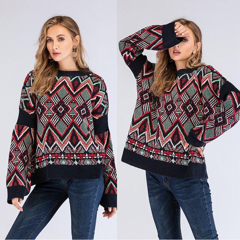 Femmes nouveau automne/hiver 2019 top en tricot lâche col arrondi manches longues contraste géométrique motif tricot chandail