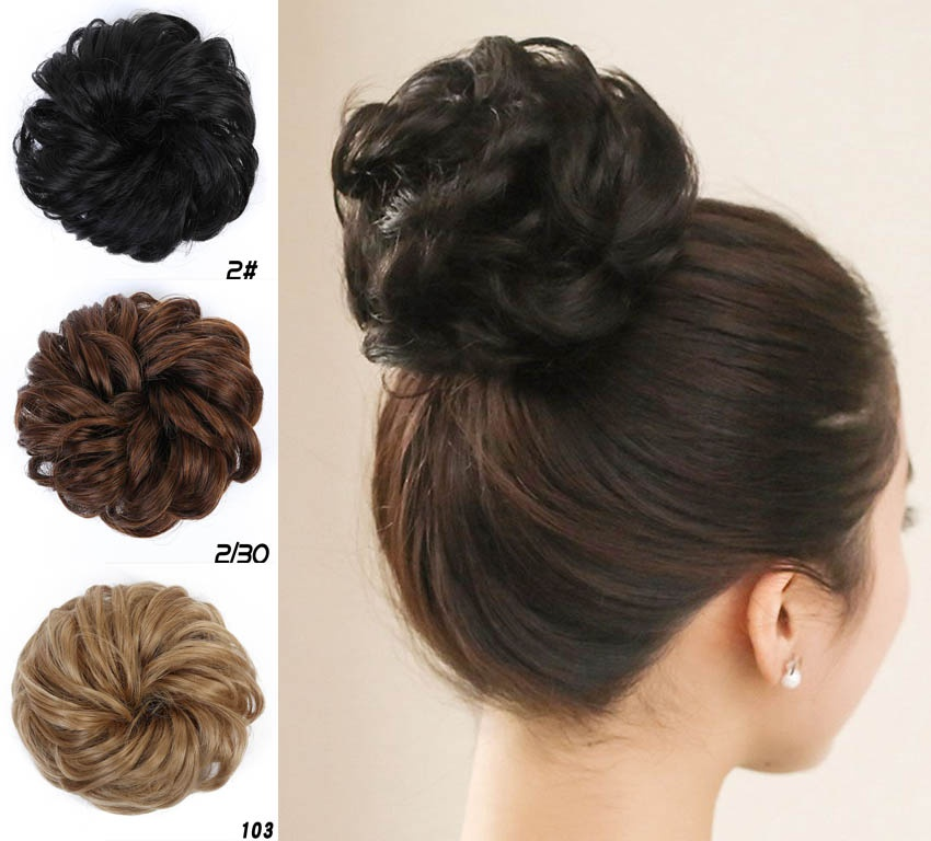 Allaosify Synthetic High Temperature Fiber Chignon Women Curly Chignon Hair Clip In Hairpiece Extensions Bun For Brides 9 Colors