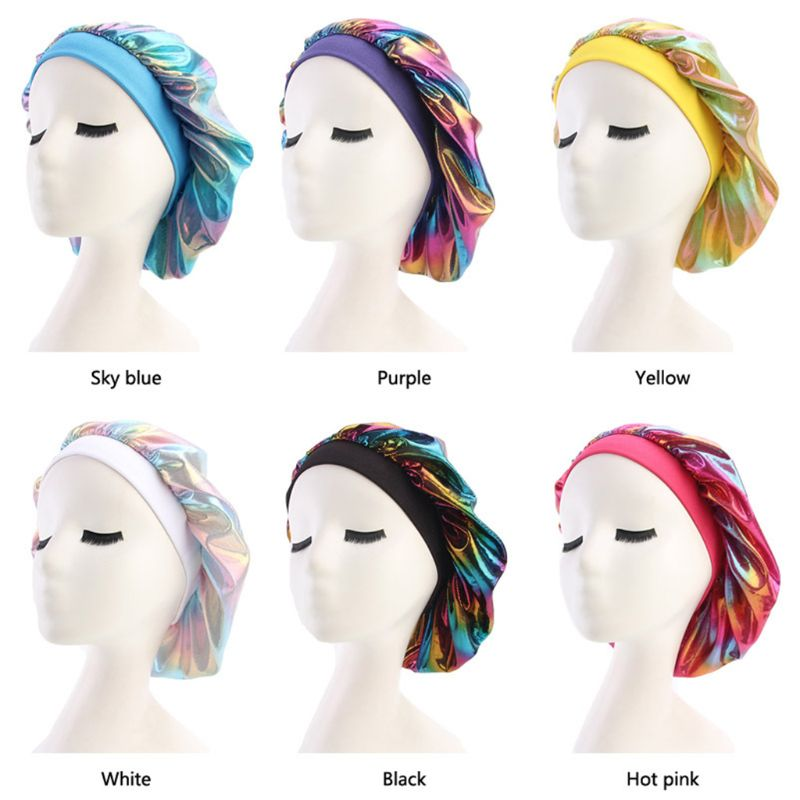 Womens Faux Silk Bonnet Wide Band Soft Sleep Cap Glitter Reflective Rainbow Colorful Head Covering Ruched Hair Loss Chemo Cap