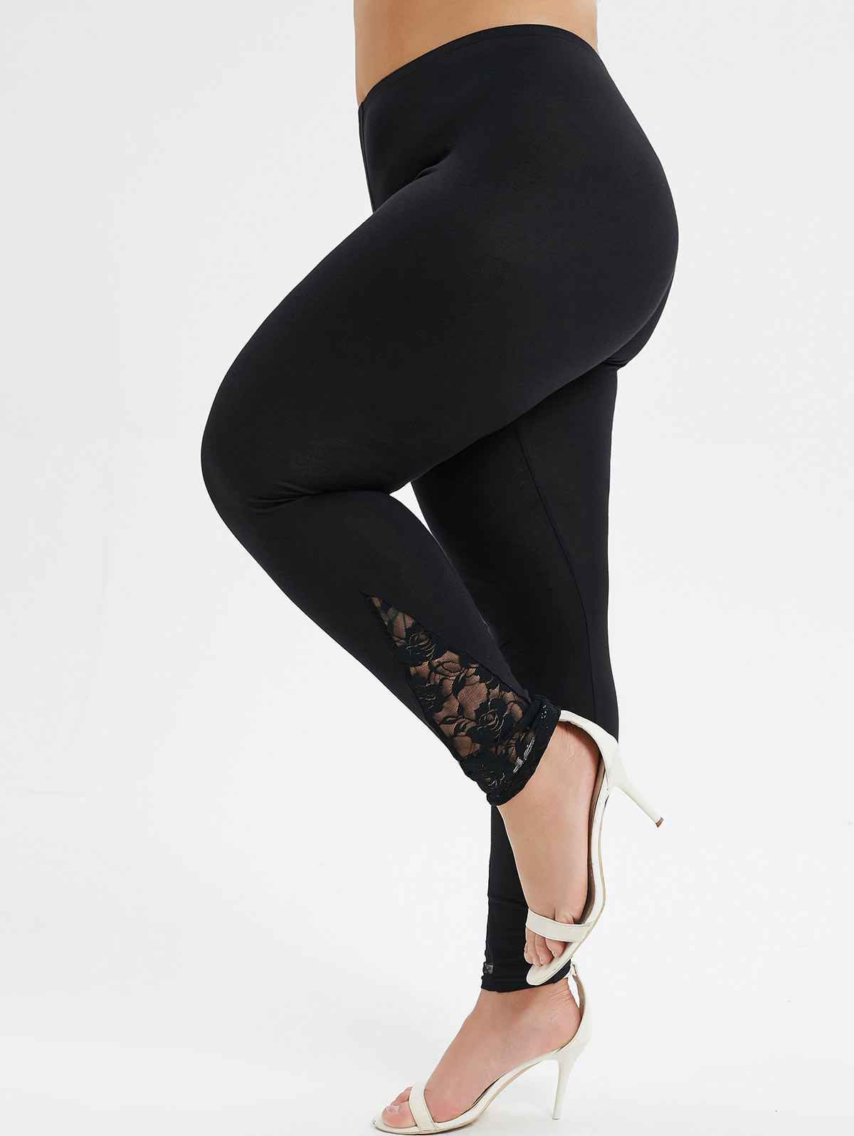 Fashion Plus Size High Rise Lace Panel Leggings Elastic High Waist Women Solid Leggings Sexy Skinny Women Legins 2019 Fall