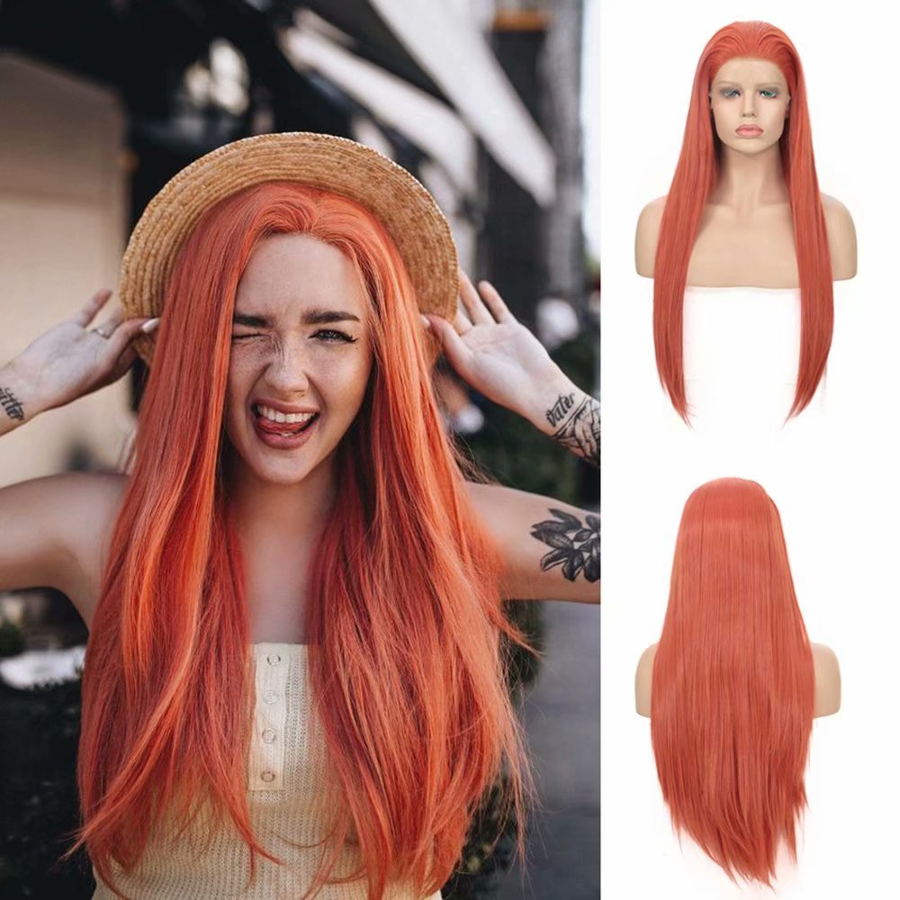 AIMEYA Free Part Orange Red Synthetic Lace Front Wigs Long Silky Straight Wig for Women Glueless Heat Resistant Fiber Hair Wigs