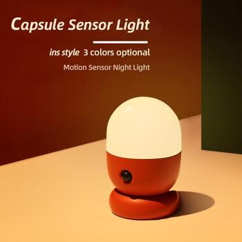 цена на LED Motion Sensor Night Light Creative Smart Wall Lamp Capsule Shape USB Recharge Table Lights Children's Gift Bedroom Decor