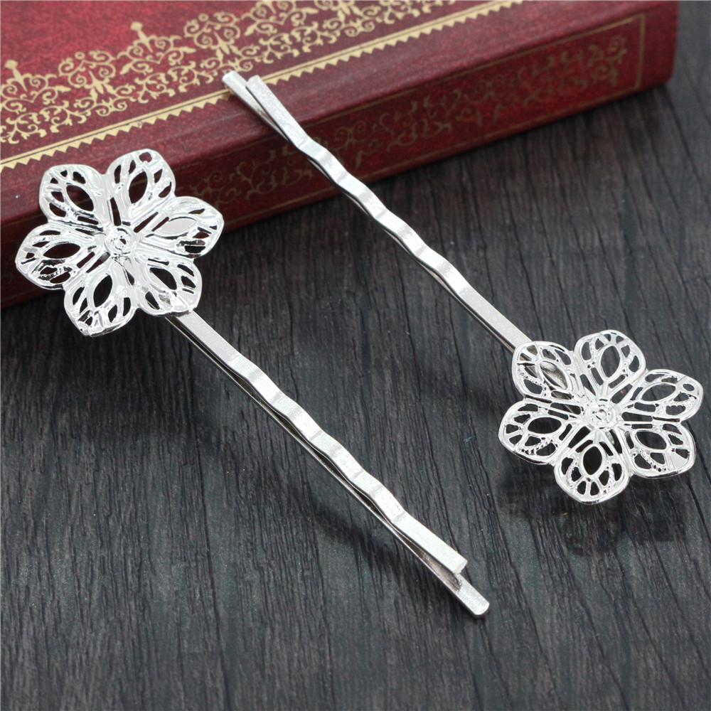 10pcs/Lot 70*20mm  High Quality Flower Style Bronze Plated Copper Material Hairpin Hair Clips Hair Accessories Wholesale Sales