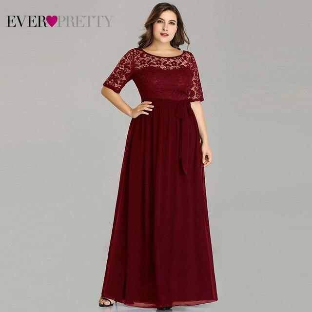 Lace Evening Dresses Women Cheap Long Short Sleeve A line Burgundy Plus Size Evening Party Gowns Abendkleider 2020