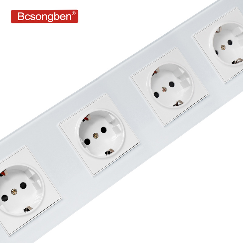Bcsongben EU Standard Wall Power Socket Manufacturer Of 16A Grounded Electrical 4 Way Wall Outlet Crystal Glass And PC Panel