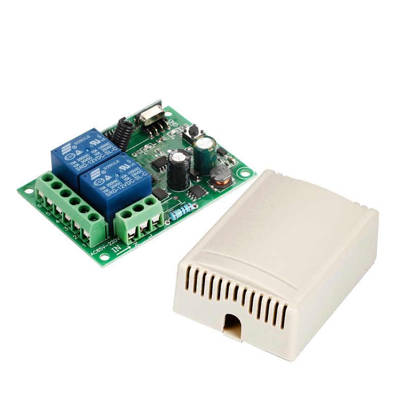 GERMA 433 MHz ไร้สายรีโมทคอนโทรลสวิตช์ AC 250V 110V 220V 2CH รีเลย์ตัวรับสัญญาณรีเลย์ + RF 433 MHz รีโมทคอนโทรล