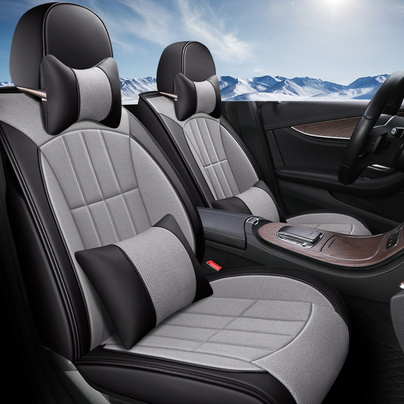 Eco-cuir auto sièges couvre PU cuir lin fibre de voiture housses de siège pour Skoda citigo fabia octavia superbe kodiaq yeti roomster