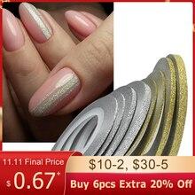 1Roll Goud Zilver Nail Art Glitter Strippen Tape Lijn Strips Slider Voor Nagels 1Mm 3Mm Sparkly Sticker charm Decoratie BENC275