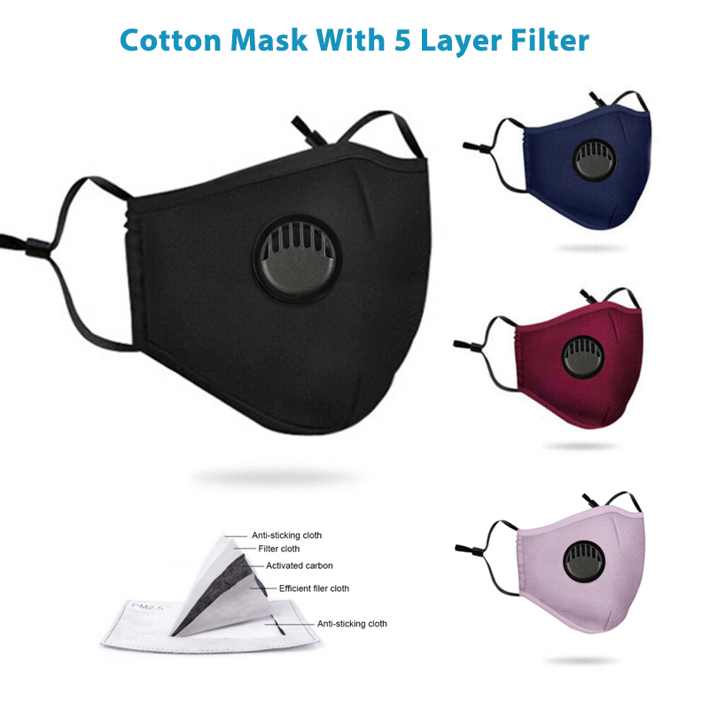 Cotton Washable 3 Layer Face Mask With 5 Layer Filter Men Women's Face Masks Can Be Exchanged For Pm2.5 Filters And Smog