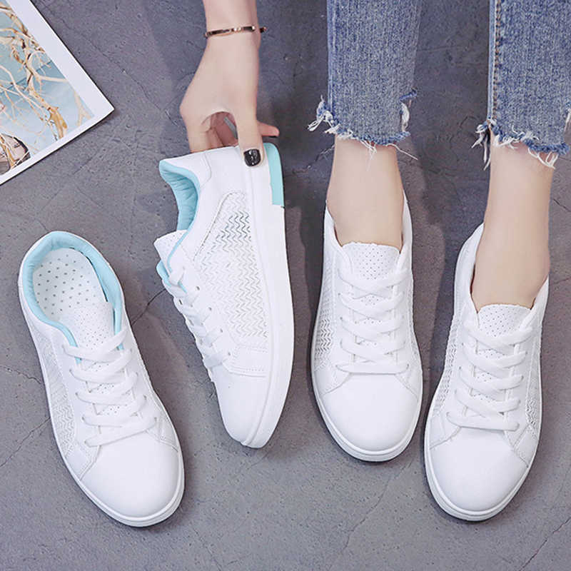 Zapatillas de deporte de mujer de malla transpirable, calzado informal de verano y otoño para mujer, zapatos vulcanizados planos de cuero blanco a la moda para mujer VT1247
