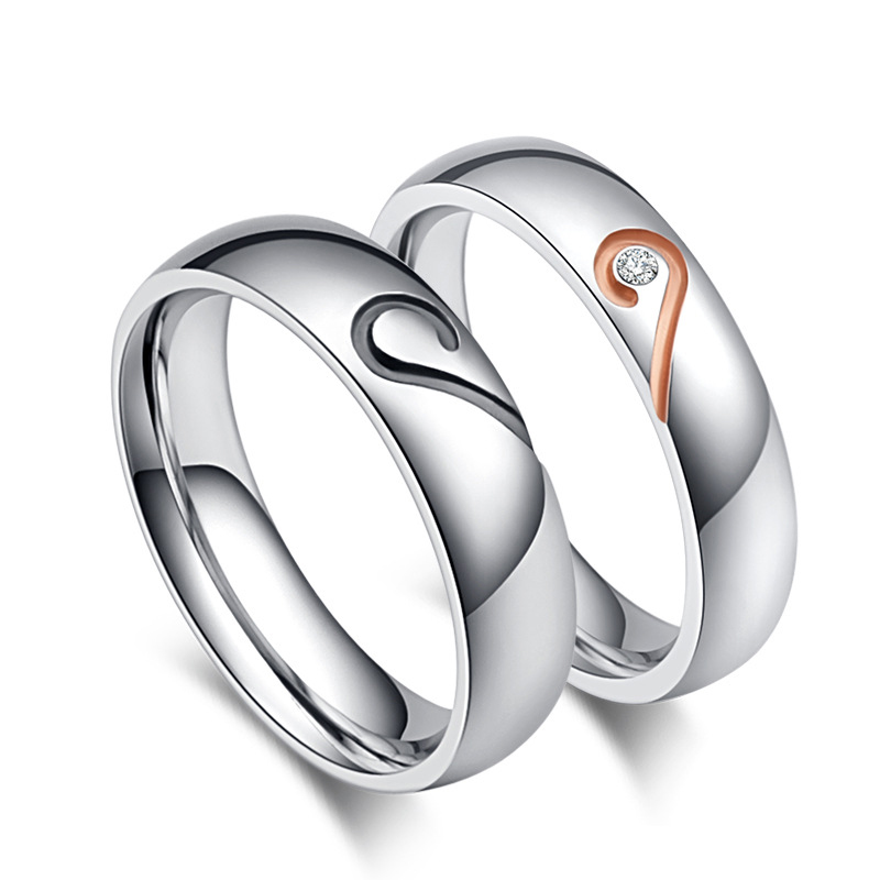 Super Promo C302 Stainless Steel Rings Silver Half Heart Simple
