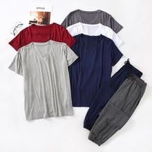 Японский весна и лето мужские% 27 пижамы костюм модал вискоза волокно с короткими рукавами брюки свободные большие размер повседневная домашняя одежда