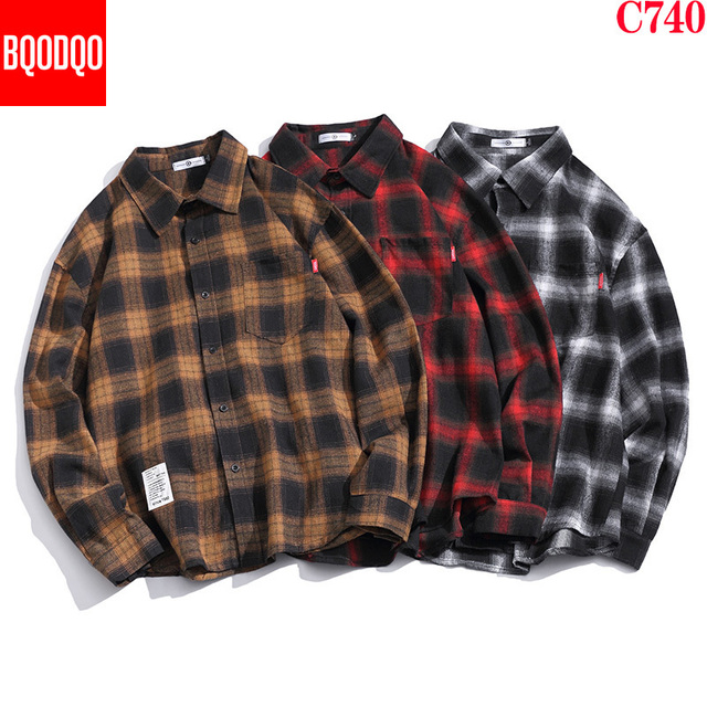 Brand Cotton Red Plaid Casual Shirt