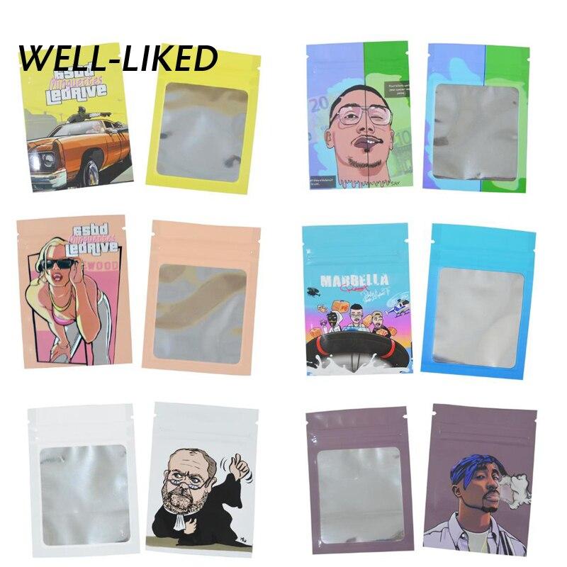 Модные пакеты 7*10 см с мультяшным принтом, пакеты с застежкой-молнией для марихуаны, табачные пакеты с окошком, оптовая продажа, индивидуальн...