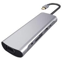 10 IN 1 Typ C HUB Docking Station USB C zu HDMI RJ45 Gigabit VGA SD/TF USB 3.0 Ports PD Schnelle Ladung Für MacBook Samsung S9-in Laptop-Docking-Stationen aus Computer und Büro bei