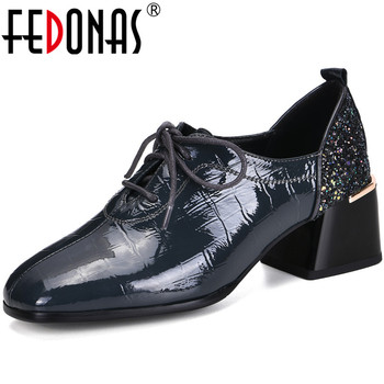 FEDONAS Elegant Concise Genuine Leather Ladies Shoes Newest Lace Up Chunky Heels Pumps 2020 Spring Summer Party Casual Shoes Wo