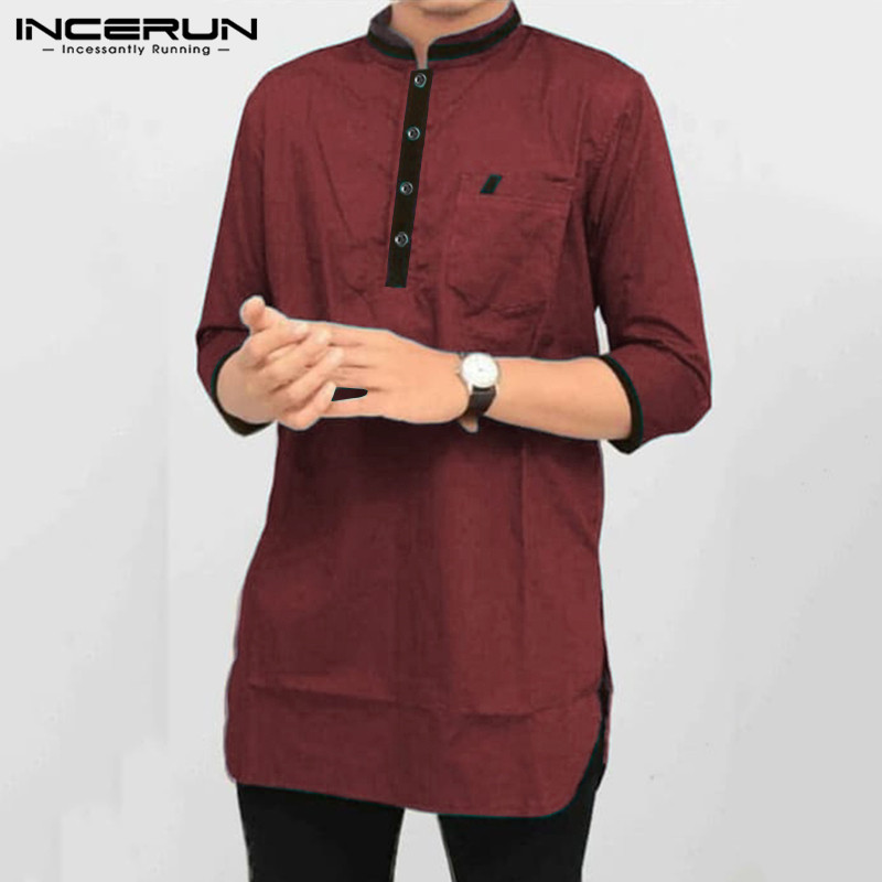 INCERUN Men Shirt Stand Collar Patchwork Chic Vintage Pockets Cotton 3/4 Sleeve  Suit Men Shirts Casual Indian Clothes 2019