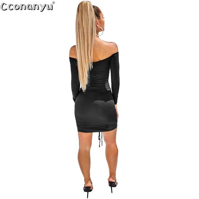 Ladies sexy drawstring dress Autumn Winter black  White Slash Neck short dresses long Sleeve Solid Mini Club Dress vestidos 2