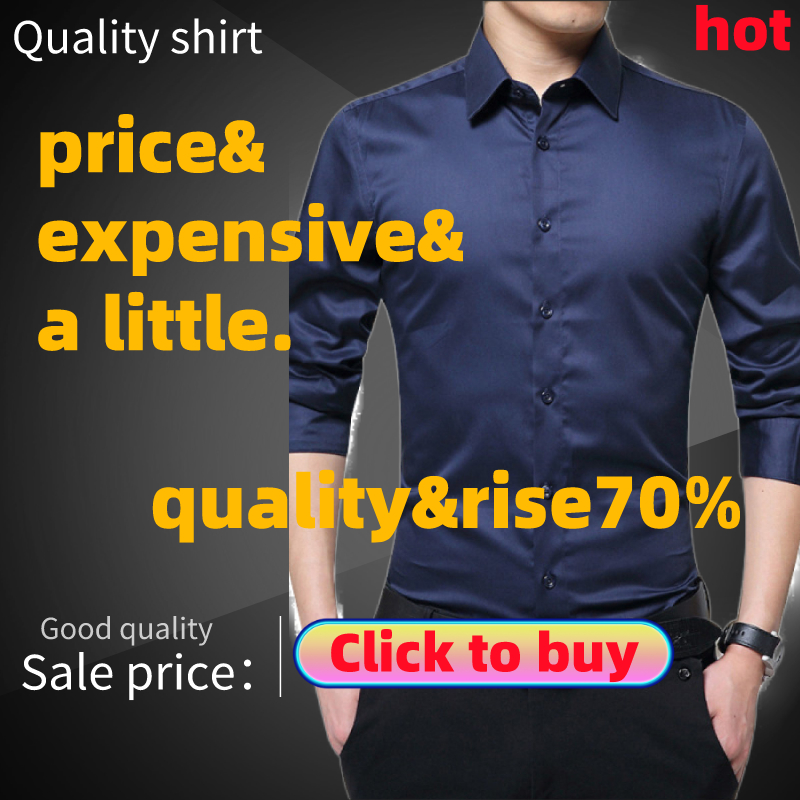 Mens Long Sleeve Shirt Fashion White Casual Solid Color Fashion Business Design Fabric Soft Comfortable Men Business(Free Gift)