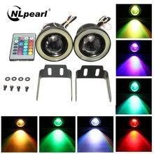 Nlpearl 2pcs 12V 24V Universal RGB LED Fog Light White COB Halo Angel Eye Rings DRL Driving Bulbs 2.5