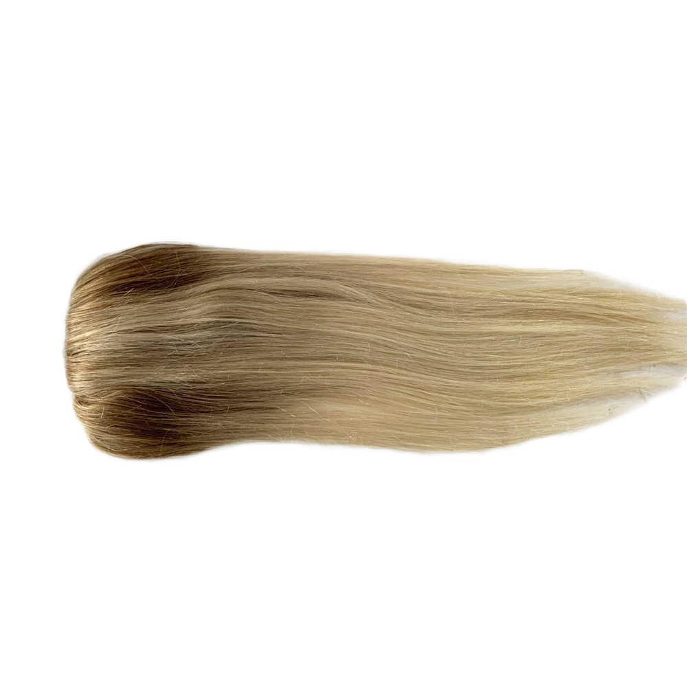Bymc 7*10 Cm Ombre Blond Haar Toupet Vrouw Top Stuk Europese Remy Haar Een Stuk Haar Topper Mono clip Pruik Voor Minder Haar Vrouwen