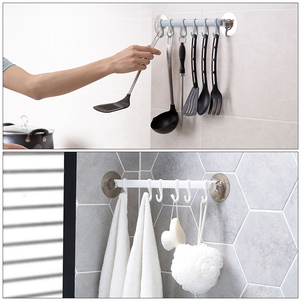 Adjustable 6 Hooks Suction Cup Towel Hanger Rack Hanging Shelves Holders Lock Type Sucker Bathroom Hook Organizer