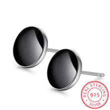 Модные серьги гвоздики из серебра 925 пробы в виде черных виниловых