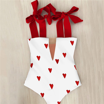2021 New Sexy One Piece Swimsuit Shoulder Strappy Swimsuit Heart print Swimwear Women Backless Bathing Suit Beach Wear Monokini 1
