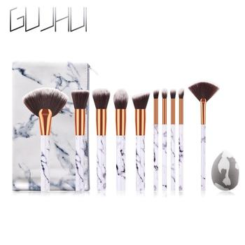 10Pcs/Set Makeup Brushes With Bag Professional Marbling Handle Foundation Eyeshadow Powder Make Up Brushes Set Beauty Tool TSLM2