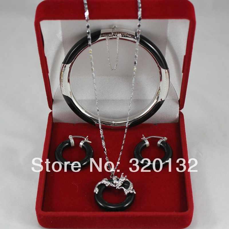 משלוח חינם >>@> 18K זהב לבן מצופה שחור ירקן תליון עגיל צמיד/צמיד תכשיטי כסף זהב מצופה תכשיטים סטים