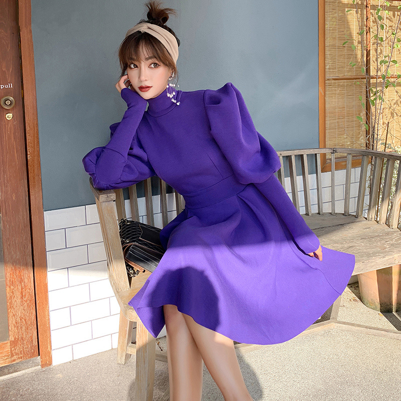 Lanterne manches violet balle Gwon robe de soirée femmes automne Vintage à manches longues décontracté Streetwear Style coréen Slim robes courtes