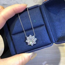 ZN S925 Sterling Silver Material Exquisite luxury full  fire flower necklace European American fashion necklace for women