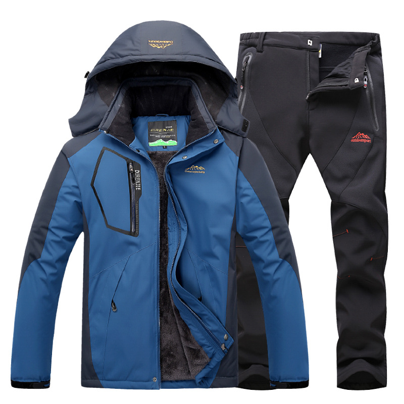 Outdoor Jacket + pants Winter Fleece Hiking Jackets Hiking Pants Men ski suit Windproof Waterproof Outwear Raincoat Windbreaker Hiking Jackets     - title=