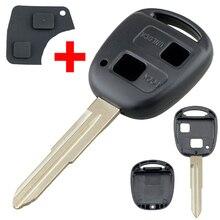Akıllı uzaktan araba anahtarı kabuk oto araba anahtarı durum değiştirme TOY41 kesilmemiş bıçak ve kauçuk düğme Pad Toyota için Fit yaris araba