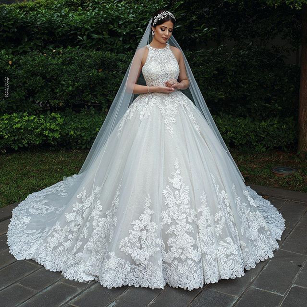 Luxury Lace Muslim Bride Wedding Dresses A Line 2020 New Sleeveless Court Train Bridal Wedding Gowns Plus Size Robe De Mariee