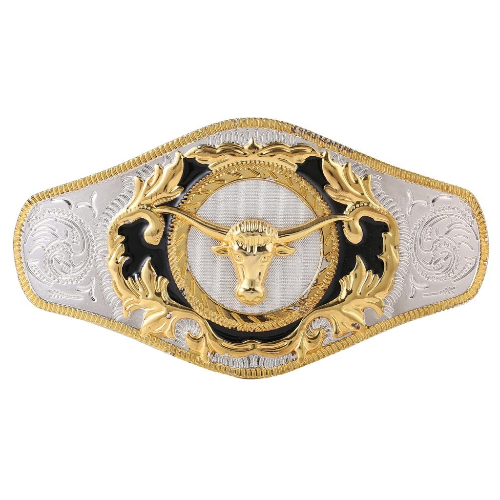 Luxurious Gold Bull Head Western Belt Buckle Horse Long Horn OX Head Rodeo Biker Texas Antique Buckle