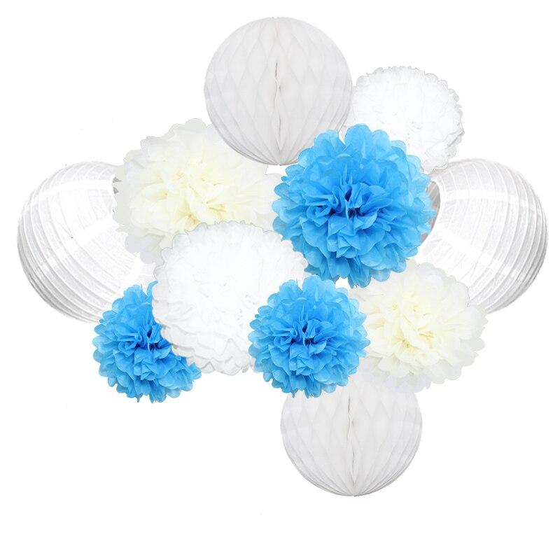 1 Juego de farolillo chino de papel azul Multicolor panal lampion Bola de Flor de Papel Pom para decoración de fiesta de cumpleaños de boda
