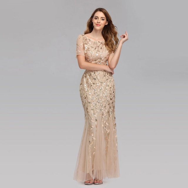 Beauty-Emily 2019 HOT Sale Tulle Mermaid Evening Dresses Long Short Sleeve Tiered Hems Prom Gowns Pleated Vestido de noche 1