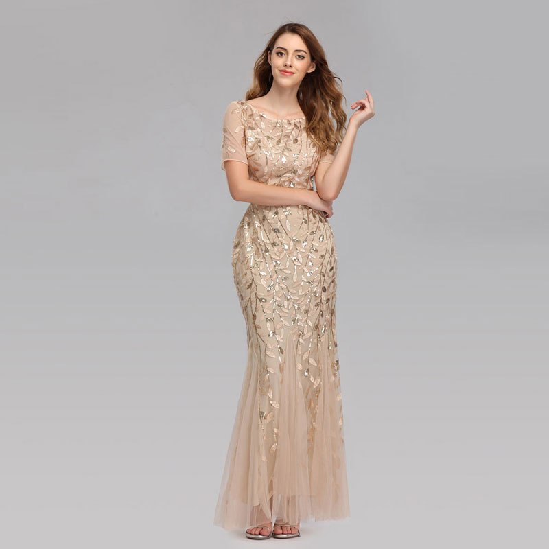 Beauty-Emily 2019 HOT Sale Tulle Mermaid Evening Dresses Long Short Sleeve Tiered Hems Prom Gowns Pleated Vestido De Noche