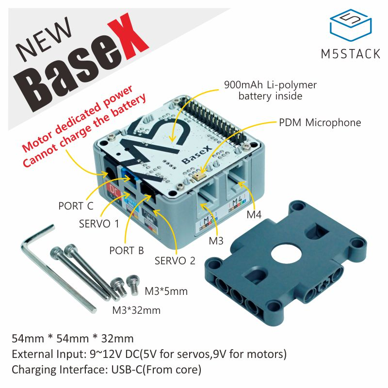 M5Stack Official BaseX Base Compatible With LEGO EV3 Motor 4-way RJ11 LEGO Motor & 2-way Servi Interface 900mAh Battery Inside