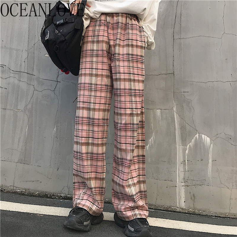 OCEANLOVE Harajuku Plaid Autumn Thin Loose Pants Women Pink Full Length Trousers Streetwear BF Style Pantalones Mujer 12760