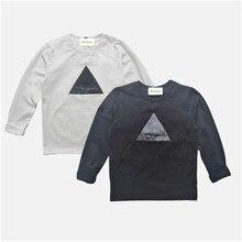 Warm T-Shirts Boys Tops Long-Sleeve Cotton Patchwork Black White Autumn Hot-Sale 6-10Y