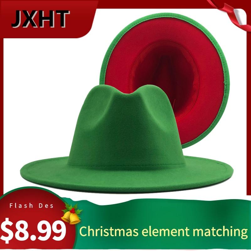 Women Men Wool Christmas Fedora Hat With Leather Ribbon Gentleman Elegant Lady Winter Wide Brim Jazz Church Panama Sombrero Cap