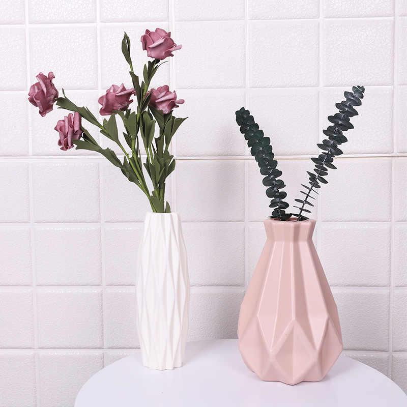مزهرية بلاستيكية اوريغامي بيضاء تقليد أصيص ورد سيراميك سلة للزهور زهرة زهرية الديكور ديكور المنزل الشمال