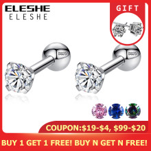 ELESHE CZ AAA Zircon Crystal Round Small Stud Earrings Wedding 925 Sterling Silver Earring for Women Girls Fashion Jewelry Gift(China)