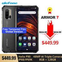 Ulefone Armor 7 Global Version IP68/IP69K Rugged Phone Helio P90 Octa Core 8GB+128GB 48MP Triple Camera 5500mAh Android 9.0 NFC