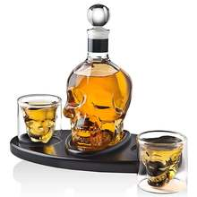 Креативная стеклянная бутылка с черепом для виски водки вина